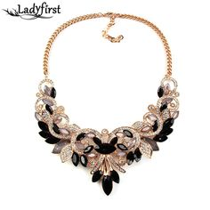 Spring Colorful Crystal Women Brand Maxi Statement Necklaces& Pendants Vintage Turkish Jewelry Necklace 2605