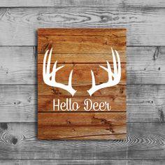 Hello Deer Antler Printable Wood Art Print by shopCharmingDesigns, $6.00