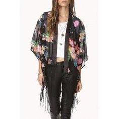 trendsgal.com - Trendsgal Collarless 3 4 Sleeve Floral Print See Through Chiffon Kimono Blouse - AdoreWe.com