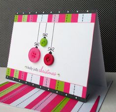 Christmas Card with Matching Embellished Envelope - Girl Ornaments. $4.25, via Etsy.