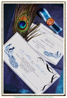 JOY Peacock Themed Wedding Invitation