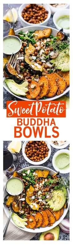 Sweet Potato, Squash and Kale Buddha Bowl with cilantro-tahini dressing and crispy chili-lime chickpeas!