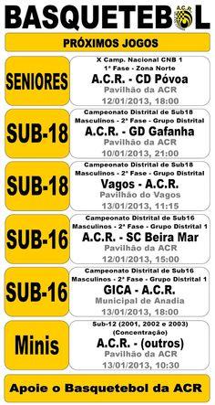 ACR: Basquetebol   Próximos Jogos  > 10, 12 e 13 Janeiro 2013