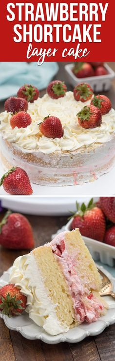 Strawberry Shortcake Layer Cake is a fun cake for strawberry season, made with yellow cake, strawberry filling and whipped cream frosting! I'm not a great cake decorator but this was easy to make! via Crazy for Crust Strawberry Shortcake Recipes, Strawberry Desserts, Strawberry Filling, Strawberry Summer, Yummy Treats, Delicious Desserts, Sweet Treats, Dessert Recipes, Keto Desserts
