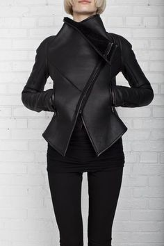 Asymmetric zippered shearling jacket – Gareth Pugh