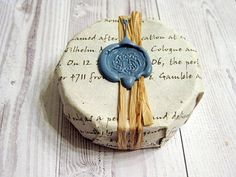 Soap wrapping idea--use book pages with wax seal.