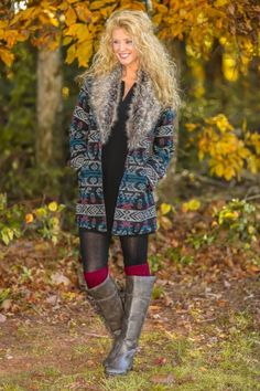 Aztec Print Jacket With Faux Fur Collar! Obsessed! The perfect piece to keep you warm, cozy & stylish! Get in my closet!