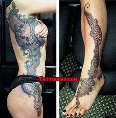 lace tattoo, lace and tattoos. #tattoo #tattoos #ink
