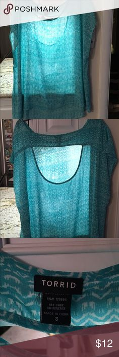 Torrid top Size 3 Torrid too.  No tags, gently used. Turquoise and white. torrid Tops Blouses