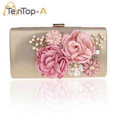 TenTop-A Elegant Designer PU Evening Day Clutches Bag Three-dimensional Artificial Flowers Pearls Bridal Party Shoulder Handbags