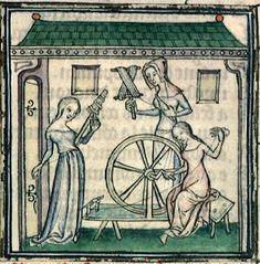 Ovide, Métamorphoses (1385 env.),  Bibliothèque municipale de Lyon, Ms.742, f°54, « Filles de Minyas filant la laine ».