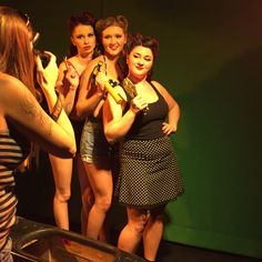 In Action on the set of our 40's pinup shoot!