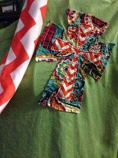 Cross - Shabby- T-shirt -Team colors-Raggy on Etsy, $18.00