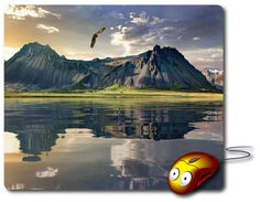Mouse Mat great computer pad office accessories computer desk accessory best mouse pad Computer Mouse Photo mouse pad Nature Images Amazingly picture beautiful photo of a Nature Landscape Sunset time, the beauty of nature, mountains and water, water reflections, king of birds eagle in flight controls - Beauty gifts for Home decor or Office decor adds charm to your home office or workplace.