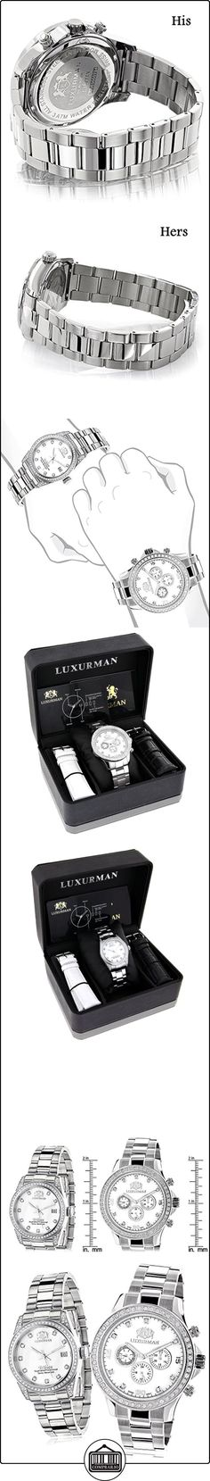 His and Hers Watches: White Gold Pltd LUXURMAN Diamond Watch Set 3.5ct  ✿ Relojes para mujer - (Lujo) ✿