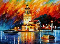 Romantic Harbor Artwork By Leonid Afremov Oil Painting & Art Prints On Canvas For Sale Oil Painting On Canvas, Canvas Art Prints, Urban Painting, Painting Art, Istanbul, Canvas Online, Oil Painting Reproductions, Online Art Gallery, Verona