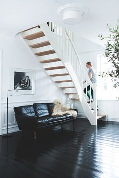 Love the stairs and polished black floor