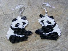 Panda Bear Earrings Hand Made Seed Beaded by wolflady on Etsy, $27.00