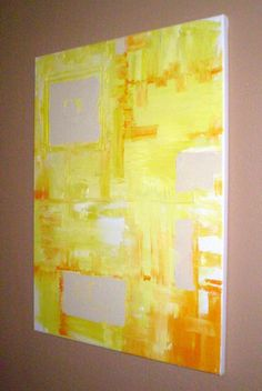WiNK original abstract modern painting - gallery fine art - contemporary interior design - ooak home wall decor - yellow #etsyfollow