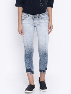 Deal Jeans Women's Blue Washed Skinny Fit Cropped Jeans  #cropped #blue @looksgud