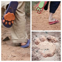 Genius! Turn flip flops into fun animal track makers. How many outdoor games can you think of for these clever props?