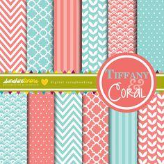 Coral & Tiffany Digital Papers - Set of 12. $4.95, via Etsy.