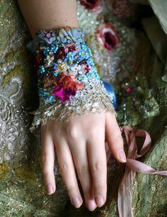 Forgetmenot delicate romantic wrist cuff antique by FleurBonheur