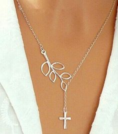 Cross Silver Plated Hollow Leaf Pendant Necklace. $4.95 +Free Shipping