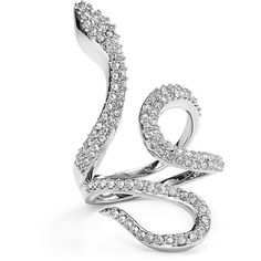 Rebecca Minkoff Pave Snake Statement Ring ($72) ❤ liked on Polyvore featuring jewelry, rings, metal rings, cocktail rings, pave ring, pave cocktail ring and metal jewelry