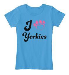 I Love Yorkies T Shirt Tee Heathered Bright Turquoise   Women's T-Shirt Front