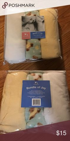 "Set of 3 new fleece blankets (3) 30""x 40"" fleece blankets. White, yellow, and green with teddy bears. Gender neutral. New in packaging. Other"
