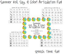 Speech Time Fun: Summer Roll, Say, & Color! Articulation Fun!  Target sounds included, in the initial and final positions: /k, g, s, f, v, th, sh, ch, l, r, z/!!