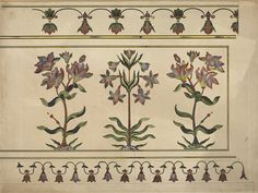 One of ten drawings of details of pietra-dura ornamentation on the cenotaphs of Shah Jahan and his wife Mumtaz Mahal, at Agra. (Drawing) ca 1840