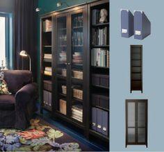 Ikea Black/brown HEMNES bookcase with a glass door cabinet