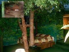 Going for a forest themed bed     Bedroom ideas   Pinterest   forest themed room   forest king sized bed nestled among the trunks of real  trees forest. Forest Themed Bedroom. Home Design Ideas