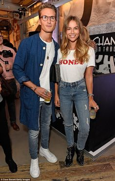 Just dessert: Made In Chelsea stars Ollie Proudlock and Emma Louise Connolly enjoyed a drink as they waited for their food