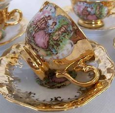 Gold iridescent, wonderful china tea cup.