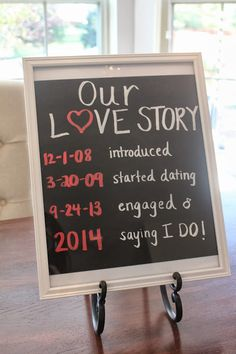 """This documentation of a love story tickles us! Change the saying """"I Do"""" date to your wedding day to use during the ceremony, and use any of these: http://www.pictureframes.com/html/black-boards.html"""