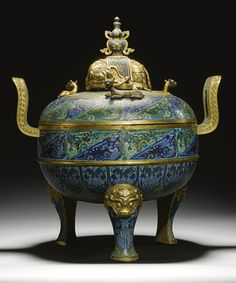 GILT-BRONZE AND CLOISONNE ENAMEL TRIPOD CENSER AND COVER  QING DYNASTY, QIANLONG PERIOD