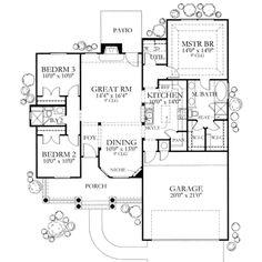 Mediterranean Style House Plan - 3 Beds 2 Baths 1355 Sq/Ft Plan #80-104 Main Floor Plan - Houseplans.com