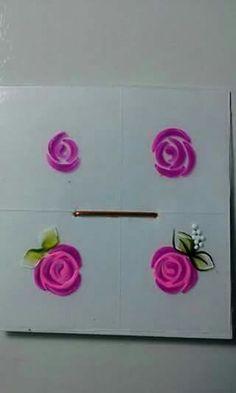 Floral Nail Art, 3d Nail Art, Nail Art Hacks, Easy Nail Art, Nail Arts, Uñas One Stroke, One Stroke Nails, Nail Drawing, Fabric Paint Designs