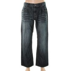 INC Mens Barcelona Relaxed Fit Low-Rise Straight Leg Jeans