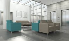 Composium Sharp club chairs settee and sofa, Momentum Odyssey Cruise, Momentum Odyssey Rue square back, 3/4 valance, brushed steel pole feet; Mezzanine oval occasional table