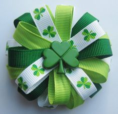 St Patrick's Day Shamrock Loopy Hair Bow  by HairBowsbyMarsha, $5.50