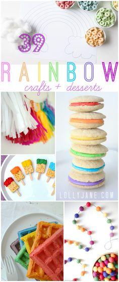 Rainbow Crafts & Desserts, 39 fun rainbow themed ideas! |via lollyjane.com #rainbow
