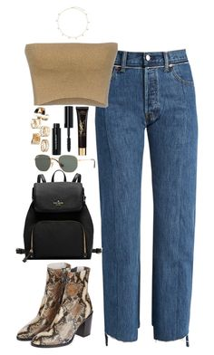 """Untitled #613"" by lindsjayne ❤ liked on Polyvore featuring Vetements, Dries Van Noten, Topshop, Bobbi Brown Cosmetics, Ray-Ban and Yves Saint Laurent"