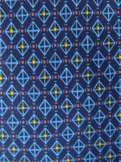 BRIONI Navy Blue Yellow Orange Video Game Grid Courtroom Boardroom Silk Neck Tie #Brioni #Tie