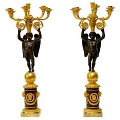 Pair of Empire Gilt and Patinated Bronze Candelabra by Pierre Chiboust, Paris