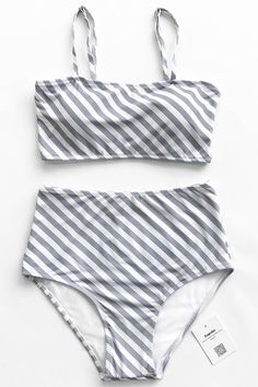 Trending Swimwear 2018 Picture Description Live life on the beach with Cupshe~ Fresh simple high-waisted bikini set features chic inclined grey & white Striped Bikini, Sequin Bikini, Cute Bathing Suits, Summer Suits, Cute Swimsuits, Lingerie, Swimwear, Shoulder Straps, Stripe Print
