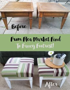 How To Create Ottomans from Flea Market Find Tables #sponsored #truemilkpaint #FabFlippinContest :michellejdesigns....